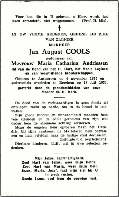 binnenzijde bidprentje: Jan August Cools