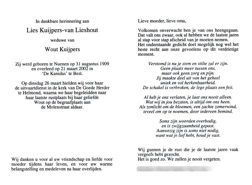 Nederlands Bidprentjes Archief Bidprentje Van Lies Van